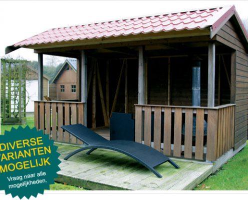 Houten berging met patio houtbouw hiemstra twijzel for Buiten patio model
